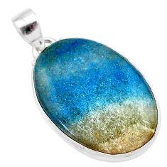 18.68cts natural blue dumorite (dumortierite) 925 sterling silver pendant t28661