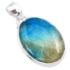 15.05cts natural blue dumorite (dumortierite) 925 sterling silver pendant t28666