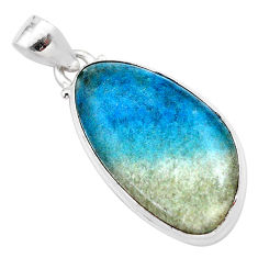 18.10cts natural blue dumorite (dumortierite) 925 sterling silver pendant t28668