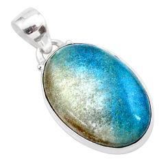 15.60cts natural blue dumorite (dumortierite) 925 sterling silver pendant t28669