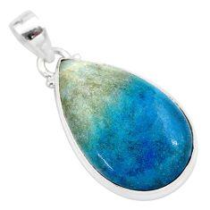 18.68cts natural blue dumorite (dumortierite) 925 sterling silver pendant t28671