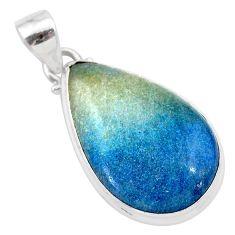 17.65cts natural blue dumorite (dumortierite) 925 sterling silver pendant t28675