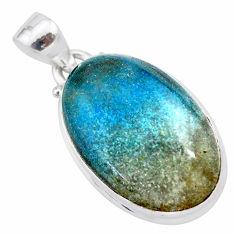 17.57cts natural blue dumorite (dumortierite) 925 sterling silver pendant t28676