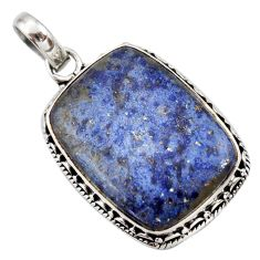 19.07cts natural blue dumortierite 925 sterling silver pendant jewelry d42298