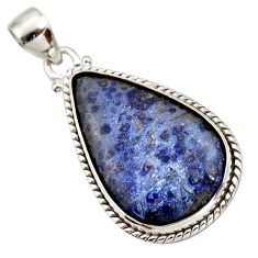 18.15cts natural blue dumortierite 925 sterling silver pendant jewelry d42299