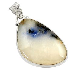Clearance Sale- 33.68cts natural blue dumortierite 925 sterling silver pendant jewelry d45469