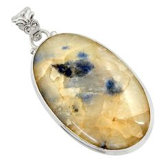 Clearance Sale- 42.73cts natural blue dumortierite 925 sterling silver pendant jewelry d45470