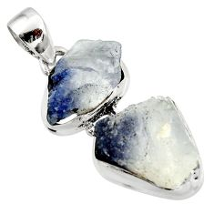 16.06cts natural blue dumortierite 925 sterling silver pendant jewelry d45993