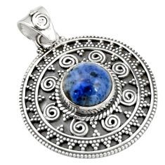 5.35cts natural blue dumortierite 925 sterling silver pendant jewelry r20254