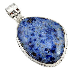 17.22cts natural blue dumortierite 925 sterling silver pendant jewelry r27746