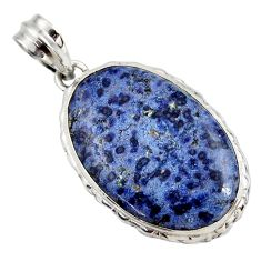 18.10cts natural blue dumortierite 925 sterling silver pendant jewelry r27749