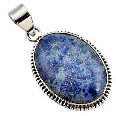 17.57cts natural blue dumortierite 925 sterling silver pendant jewelry r27751