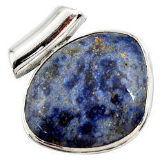 17.57cts natural blue dumortierite 925 sterling silver pendant jewelry r27752