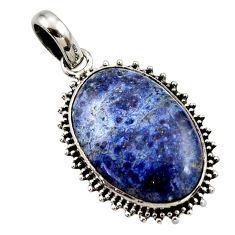 17.57cts natural blue dumortierite 925 sterling silver pendant jewelry r27760