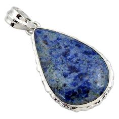 19.72cts natural blue dumortierite 925 sterling silver pendant jewelry r27983
