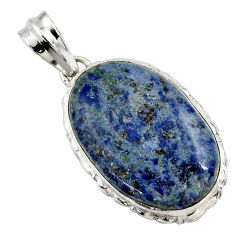 18.10cts natural blue dumortierite 925 sterling silver pendant jewelry r27985