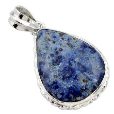 18.70cts natural blue dumortierite 925 sterling silver pendant jewelry r27987