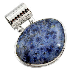 19.23cts natural blue dumortierite 925 sterling silver pendant jewelry r27989