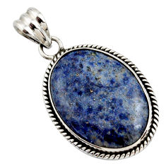 20.07cts natural blue dumortierite 925 sterling silver pendant jewelry r27990