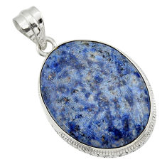 22.30cts natural blue dumortierite 925 sterling silver pendant jewelry r31881