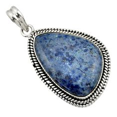 25.19cts natural blue dumortierite 925 sterling silver pendant jewelry r31886