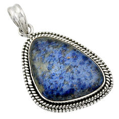 22.57cts natural blue dumortierite 925 sterling silver pendant jewelry r31887