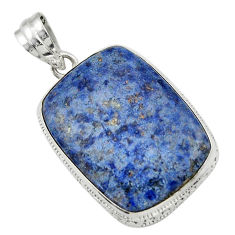 24.00cts natural blue dumortierite 925 sterling silver pendant jewelry r31890