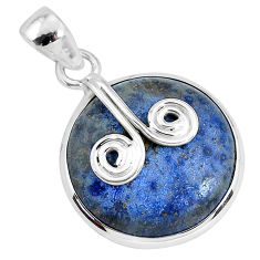 17.22cts natural blue dumortierite 925 sterling silver pendant jewelry r94463