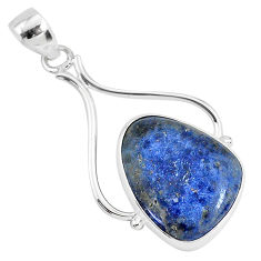 14.23cts natural blue dumortierite 925 sterling silver pendant jewelry r94466