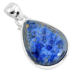 12.65cts natural blue dumortierite 925 sterling silver pendant jewelry r94468