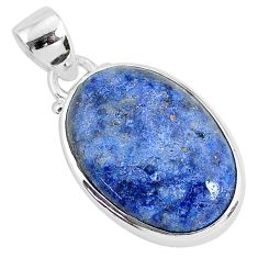 11.17cts natural blue dumortierite 925 sterling silver pendant jewelry r94471