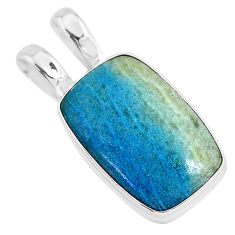12.58cts natural blue dumortierite 925 sterling silver pendant jewelry r94637