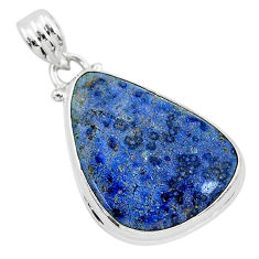 15.08cts natural blue dumortierite 925 sterling silver pendant jewelry r94741