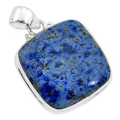 17.55cts natural blue dumortierite 925 sterling silver pendant jewelry r94745