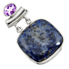 26.16cts natural blue dumortierite amethyst 925 sterling silver pendant r30581