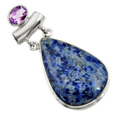 26.16cts natural blue dumortierite amethyst 925 sterling silver pendant r30582