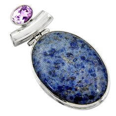 32.73cts natural blue dumortierite amethyst 925 sterling silver pendant r30583