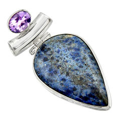 24.33cts natural blue dumortierite amethyst 925 sterling silver pendant r31892