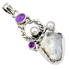 Clearance Sale- 22.07cts natural blue dumortierite amethyst pearl 925 silver pendant d43435