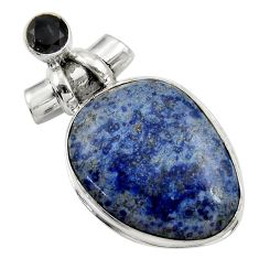 29.34cts natural blue dumortierite onyx 925 sterling silver pendant r30584