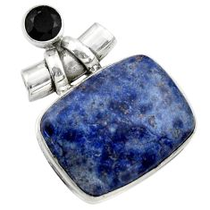 25.57cts natural blue dumortierite onyx 925 sterling silver pendant r31882
