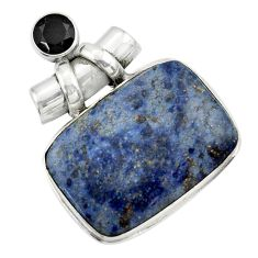 26.54cts natural blue dumortierite onyx 925 sterling silver pendant r31883