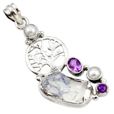 Clearance Sale- 18.17cts natural blue dumortierite pearl 925 silver tree of life pendant d43427