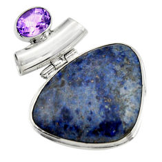 25.00cts natural blue dumortierite purple amethyst 925 silver pendant r31891