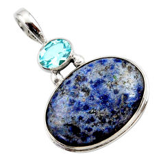 16.20cts natural blue dumortierite topaz 925 sterling silver pendant r27741