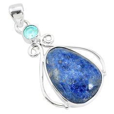 15.08cts natural blue dumortierite topaz 925 sterling silver pendant r94462