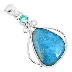 14.65cts natural blue dumortierite topaz 925 sterling silver pendant r94634