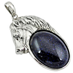 Natural blue goldstone 925 sterling silver horse pendant jewelry c22587