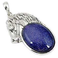 Natural blue goldstone 925 sterling silver horse pendant jewelry c22600