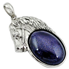 Natural blue goldstone oval 925 sterling silver horse pendant jewelry c22586